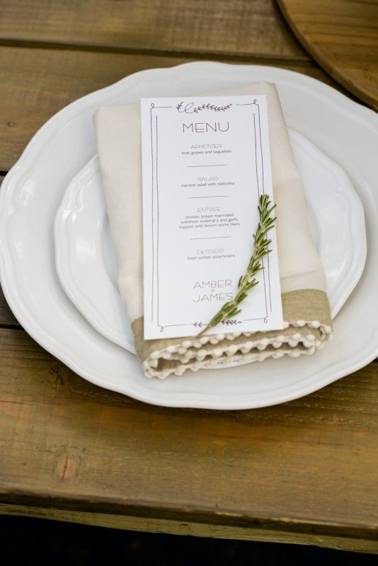 Simply Elegant Place Setting For A Rustic Wedding Just Use Avery
