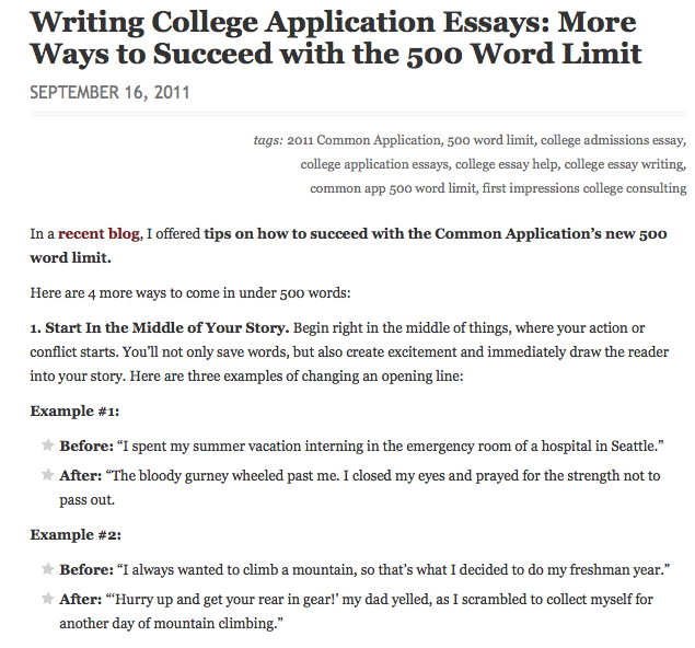 College admissions essay common application