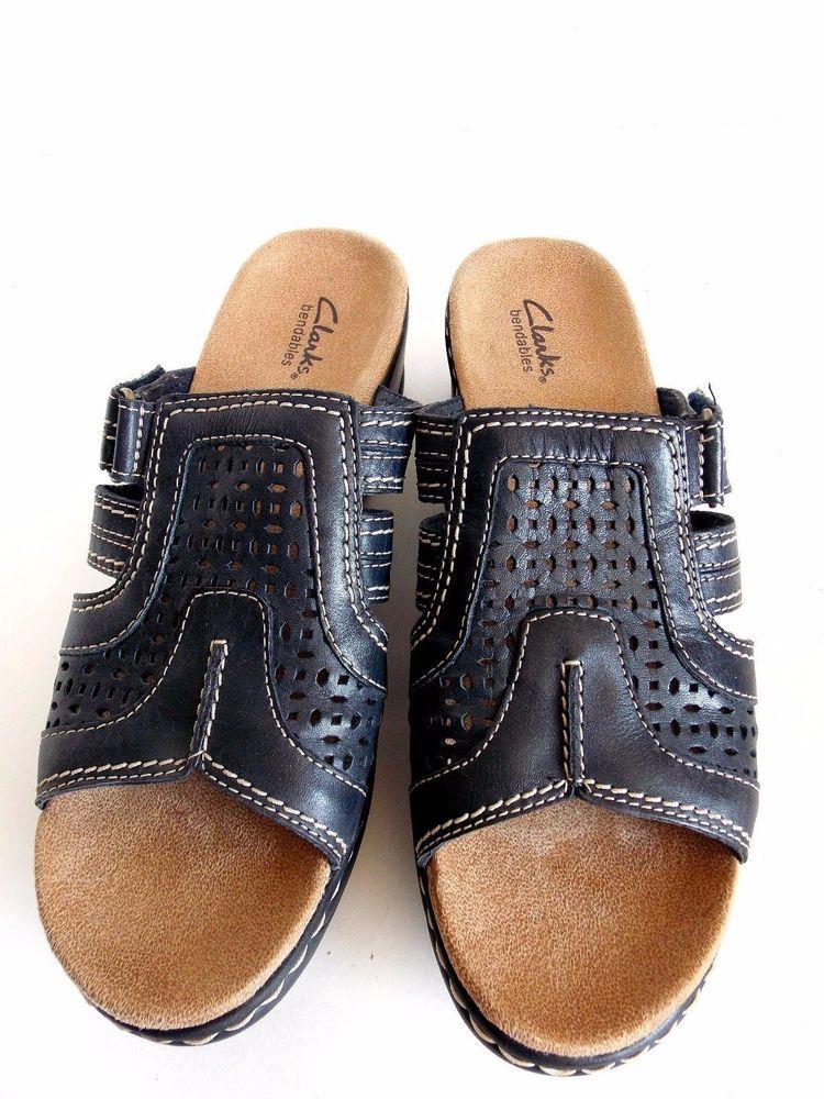 7f10fcd3c56 Clarks Bendables Womens 9M Slip On Leather Sandals NEW Black Velcro Strap   Clarks  PlatformsWedges