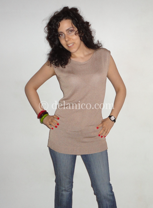 Sleeveless Knitted Tunic in Nude Color Size S