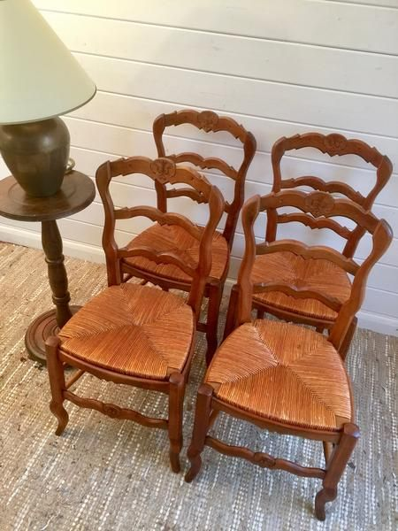 vintage french oak rush chairs set of four vintage we love by