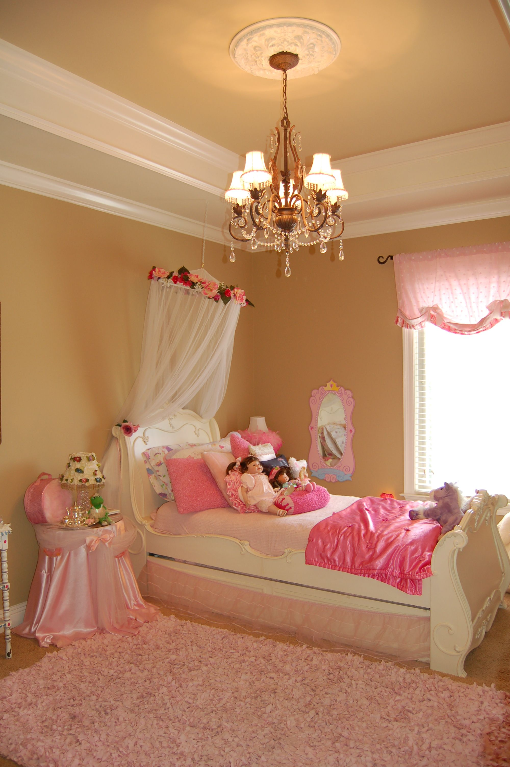 ceramic dial above chandelier Girls Bedroom