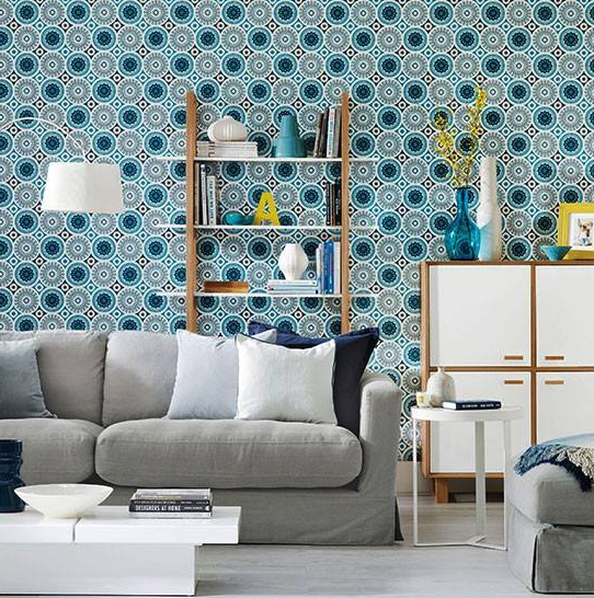 Make a bland room come alive by choosing a vibrant, patterned wallpaper...