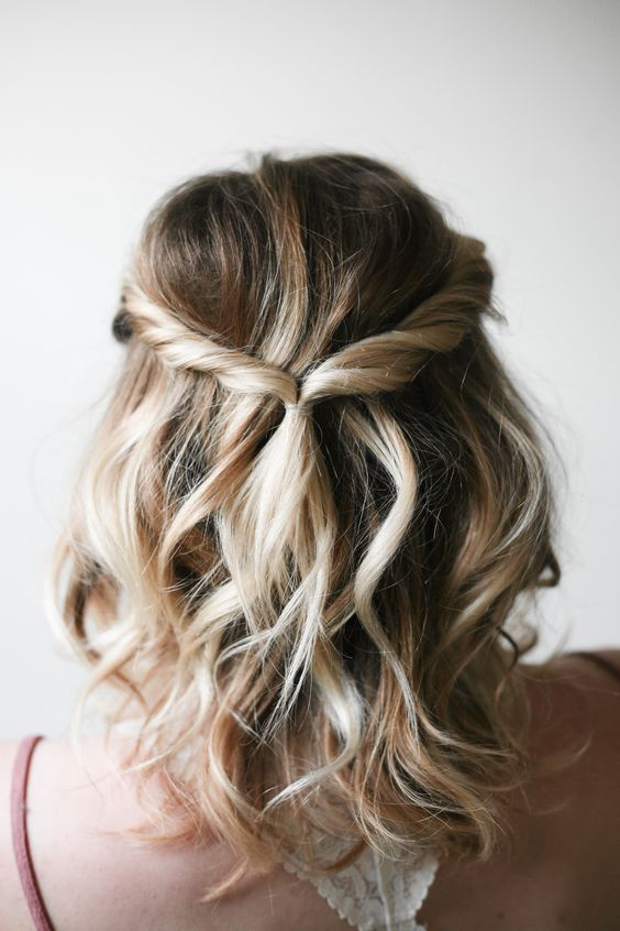 A doable hairstyle for everyday or a dinner out. And those blonde ...