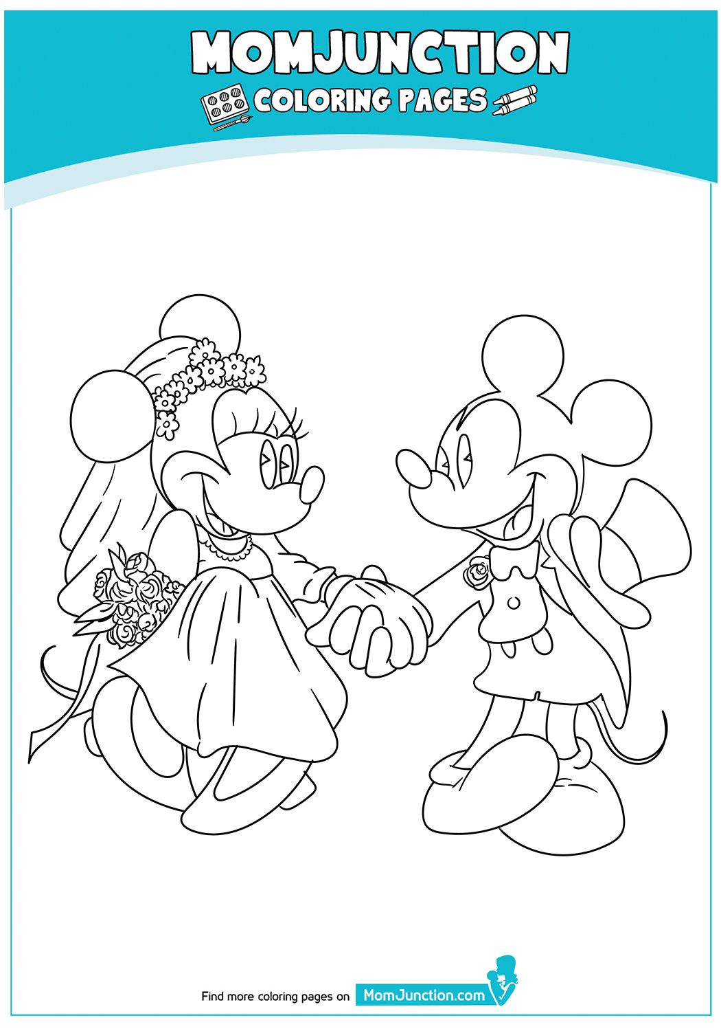 Mickey and Minnie on Wedding Day 17 Coloring Page Mickey