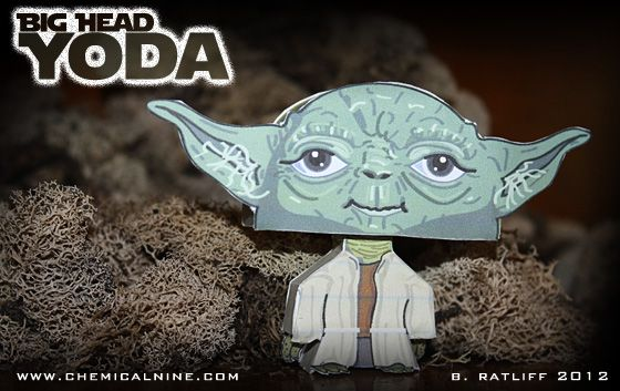 Chemical9: Big Head Yoda - Paper toy with printable template
