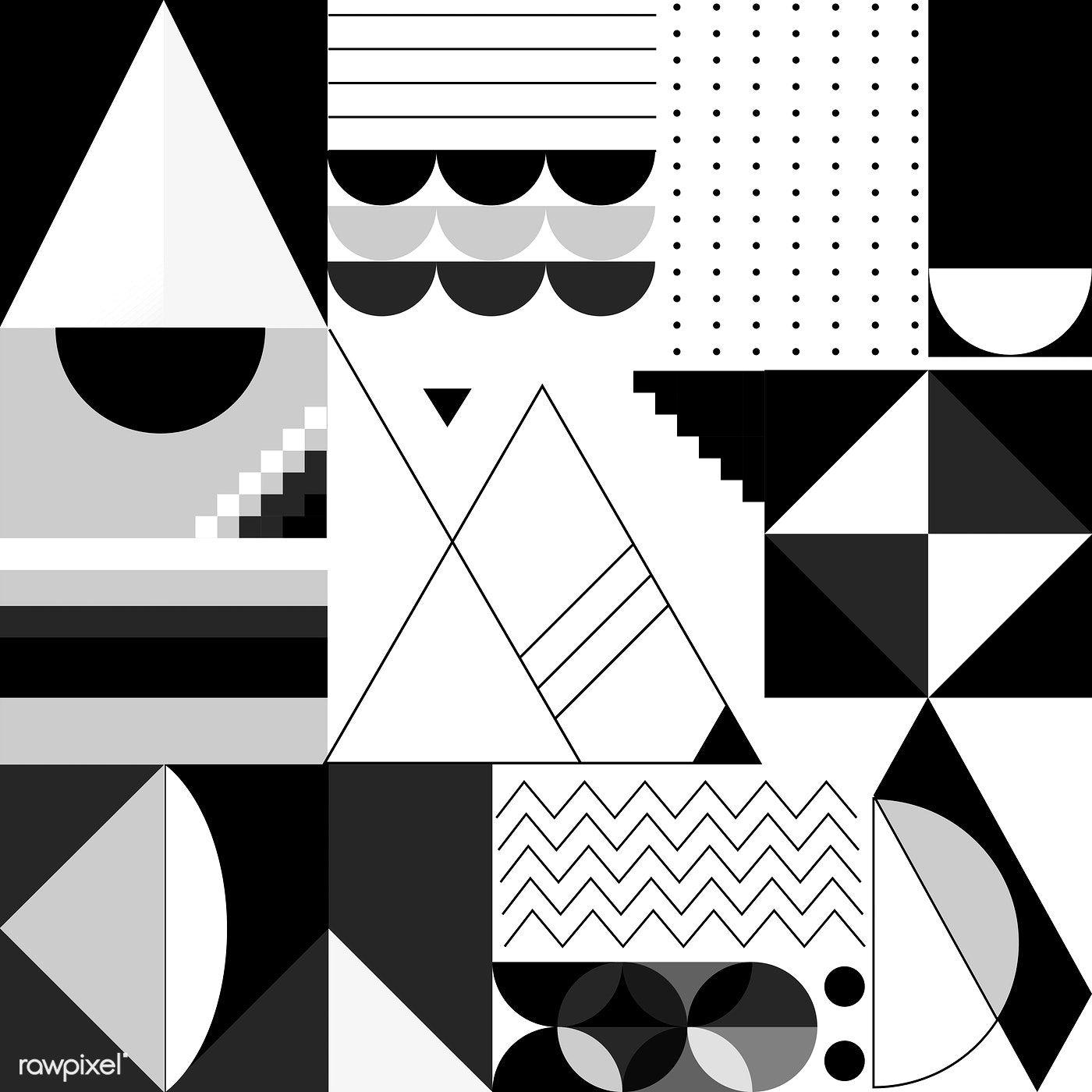 Modern black and white geometric banner template free