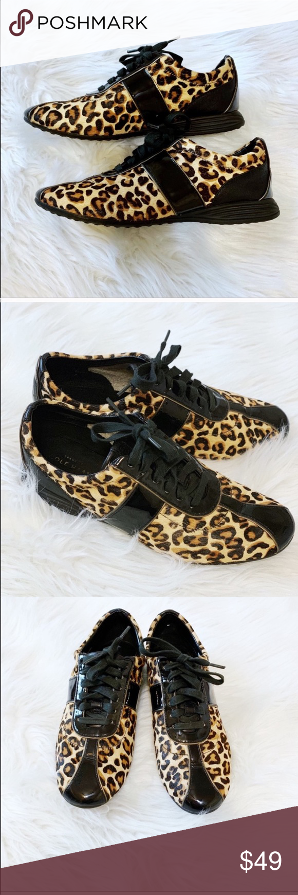"""Cole Haan Leopard Shoes Size 7 1/2"""" B Cole Haan Leopard Shoes Size 7 1/2"""" B Used but in good condition.  These shoes are super comfy and so cute!  No flaws other than some slight wear on the inside, and bottoms. See all pictures for exact condition of shoes. Cole Haan Shoes Sneakers #leopardshoesoutfit"""