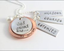 Serenity prayer necklace with date in sterling silver copper serenity prayer necklace with date in sterling silver copper personalized hand made serenity jewelry mozeypictures Image collections