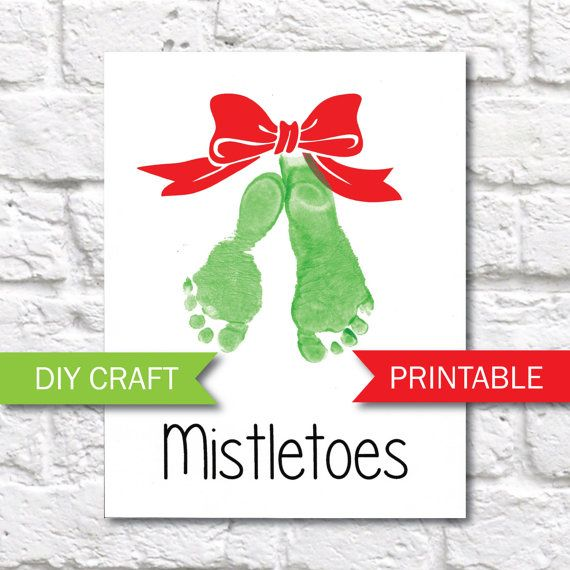 Mistletoes Footprint Printable Template - Christmas Footprint Art #mistletoesfootprintcraft