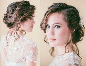Loose Braided Updo Wedding Hairstyle