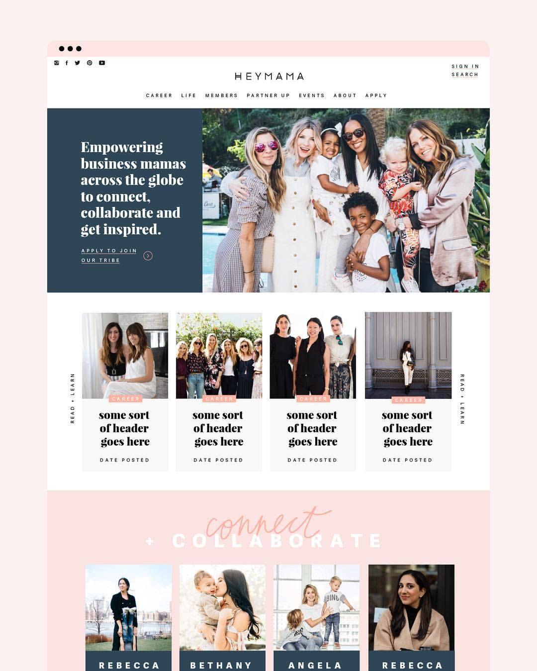 Website Design Heymama Mom Entrepreneurs Home Page Blush Navy Neutral Pink Inspiring Empowering Clean Website Design Web Design Tips Web Design Help