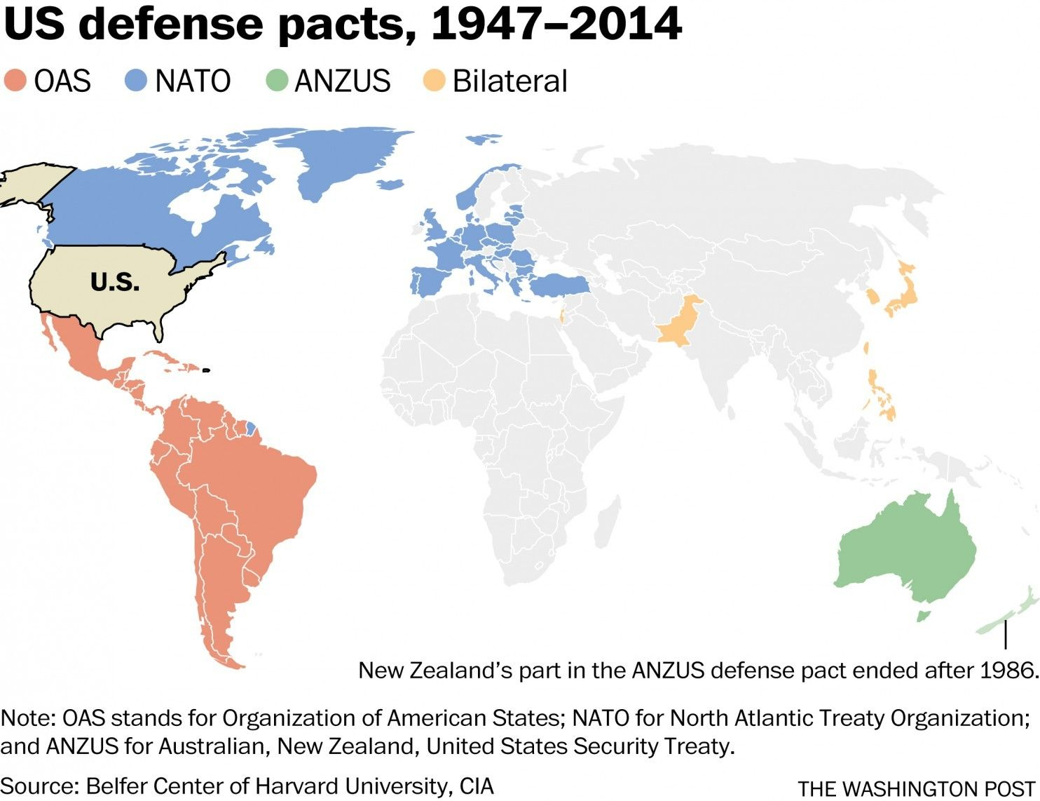 Map: The U.S. is bound by treaties to defend a quarter of humanity