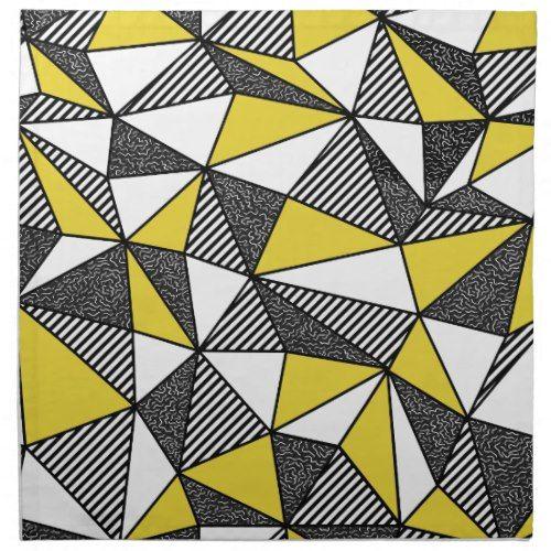 Retro Yellow Black Geometric Triangle Art Cloth Napkin Geometric Triangles Art Triangle Art Geometric Triangle