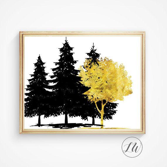 Tree print Wall art Gold foil print Tree art by LoveWonderPrints ...