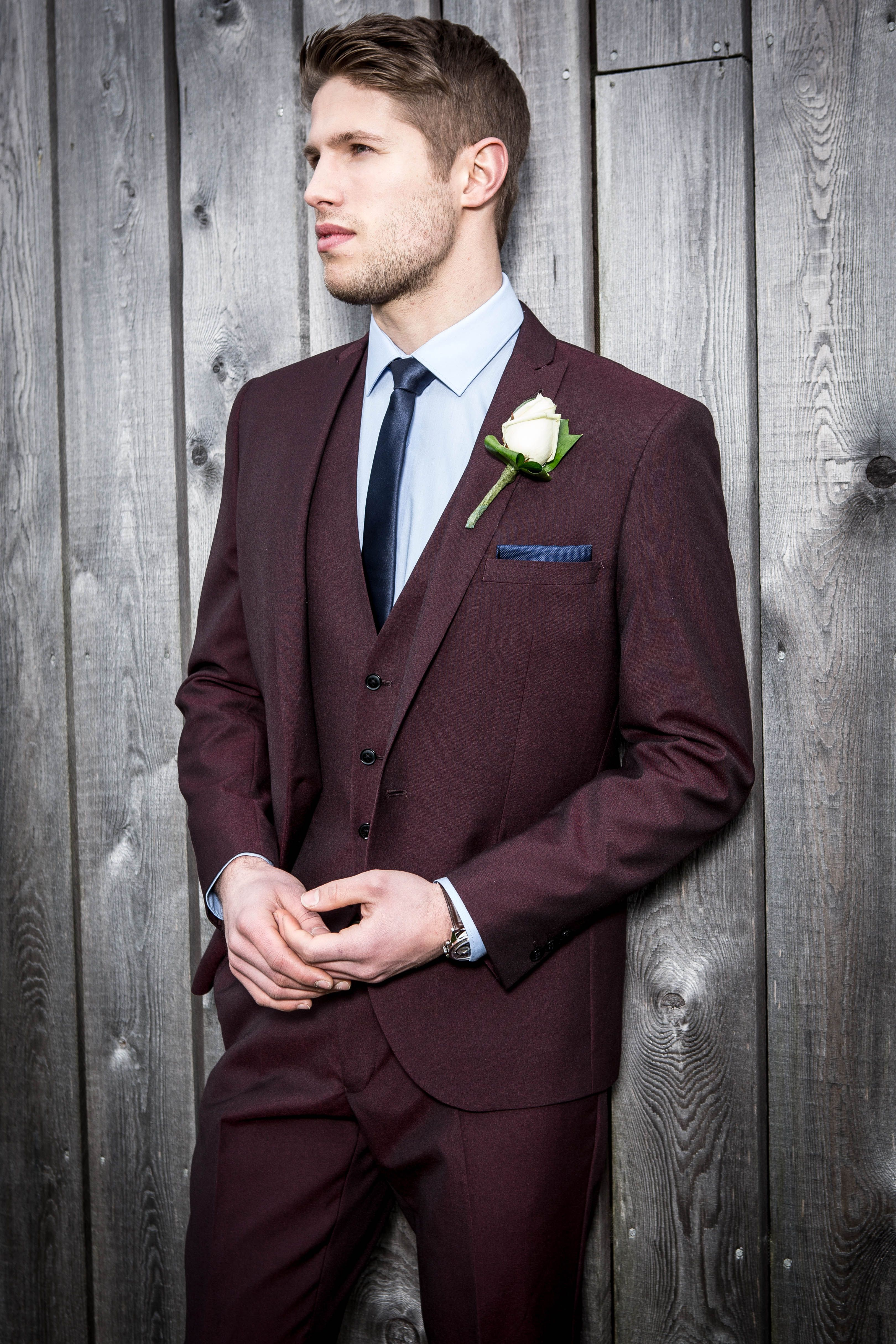 Stand out in this Burgundy Slim Fit Three Piece Suit from