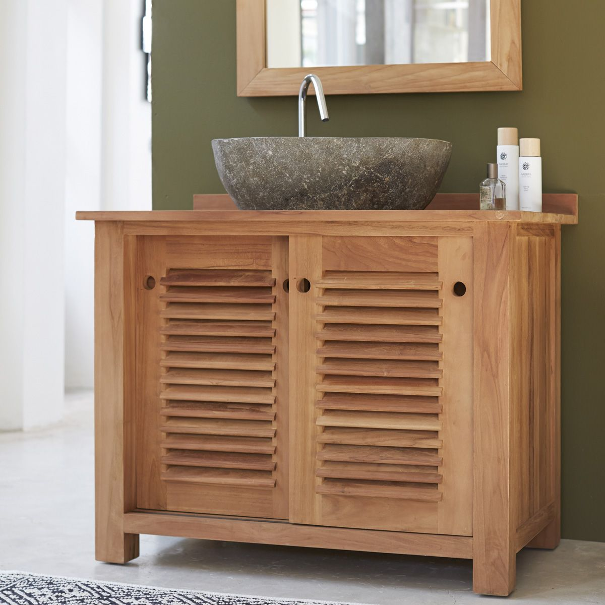 meuble salle de bain porte persienne