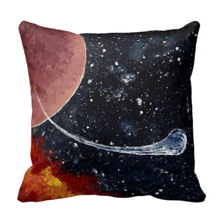 """SPACE (9) """"BIRTH"""" ~ throw pillow  Original paintings can be found for sale through my Amazon store at: http://www.amazon.com/shops/artmatrix or you can make direct arrangements for them through me. JMO Zazzle designs: http://www.zazzle.com/thewhippingpost?rf=238063263784323237 To help an artist, you can donate here: http://www.gofundme.com/6am6lg"""