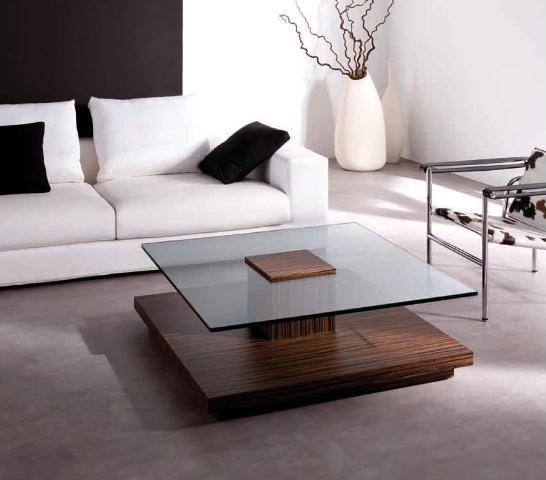 Mesa con pie de madera oscura y cristal mesas de centro - Empanelados de madera ...