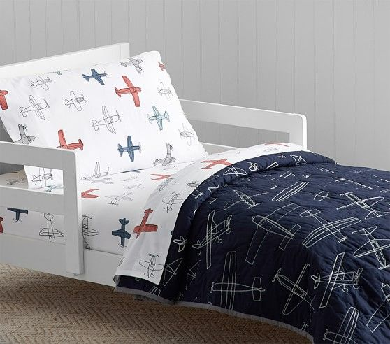 Organic Braden Planes Toddler Sheet Set Pillowcases Toddler Bed Set Pottery Barn Kids Airplane Toddler Sheets