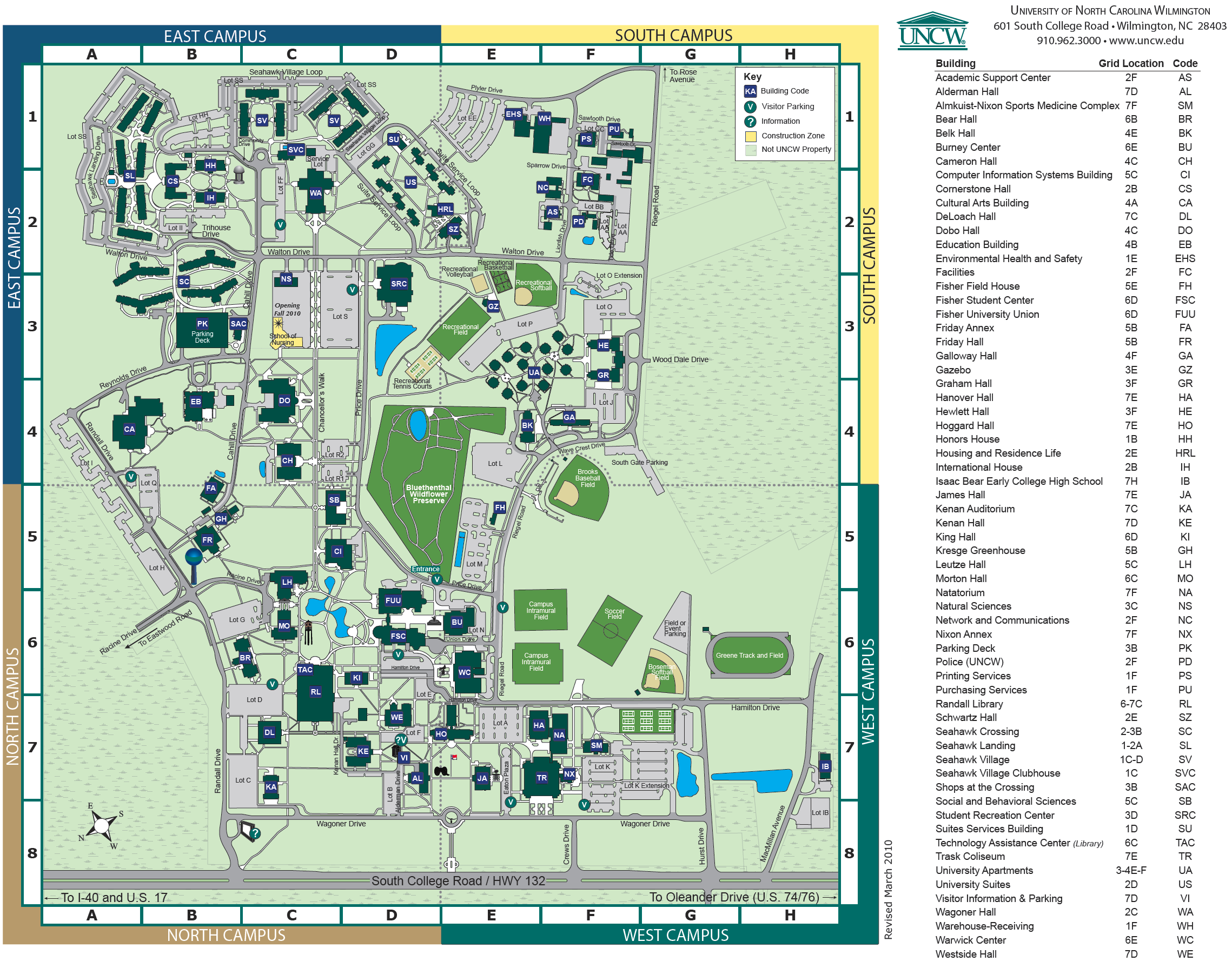 UNC Wilmington Campus Map   wilmington nc • mappery | UNCW
