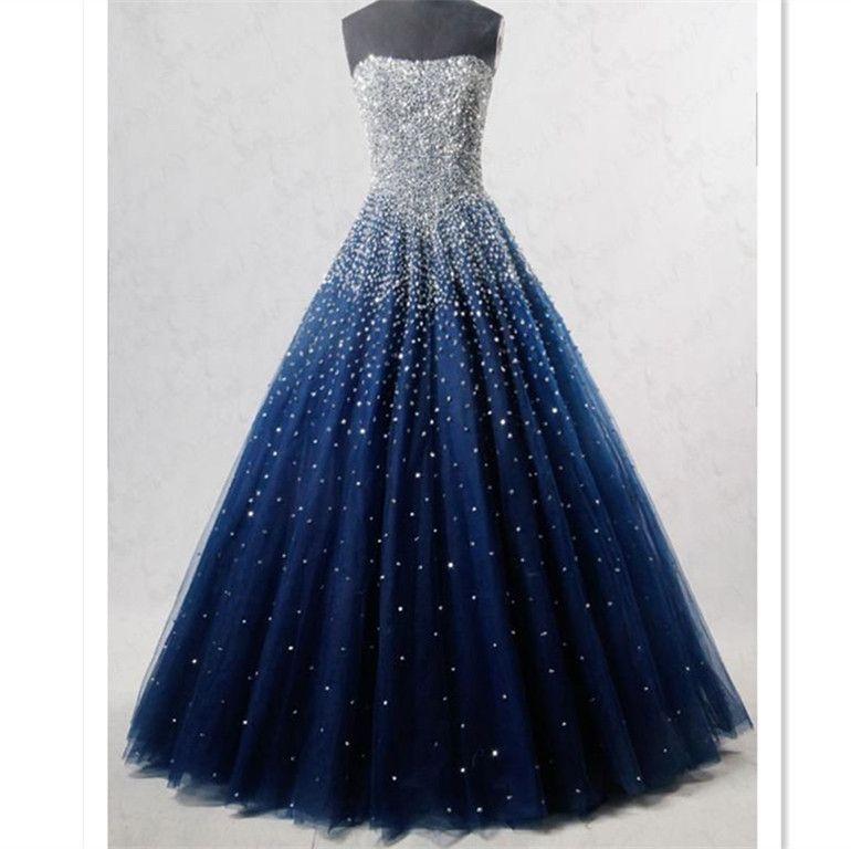 Blue sweetheart sequin tulle long prom dress, blue evening dress – Dress up