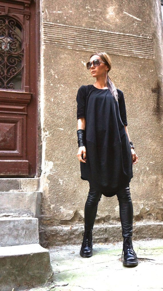 New COLLECTION Oversize Black Loose Casual Top / Linen Cotton Top / Extravagant Tunic / Black Dress 3/4 sleeves A02152 #blackdresscasual