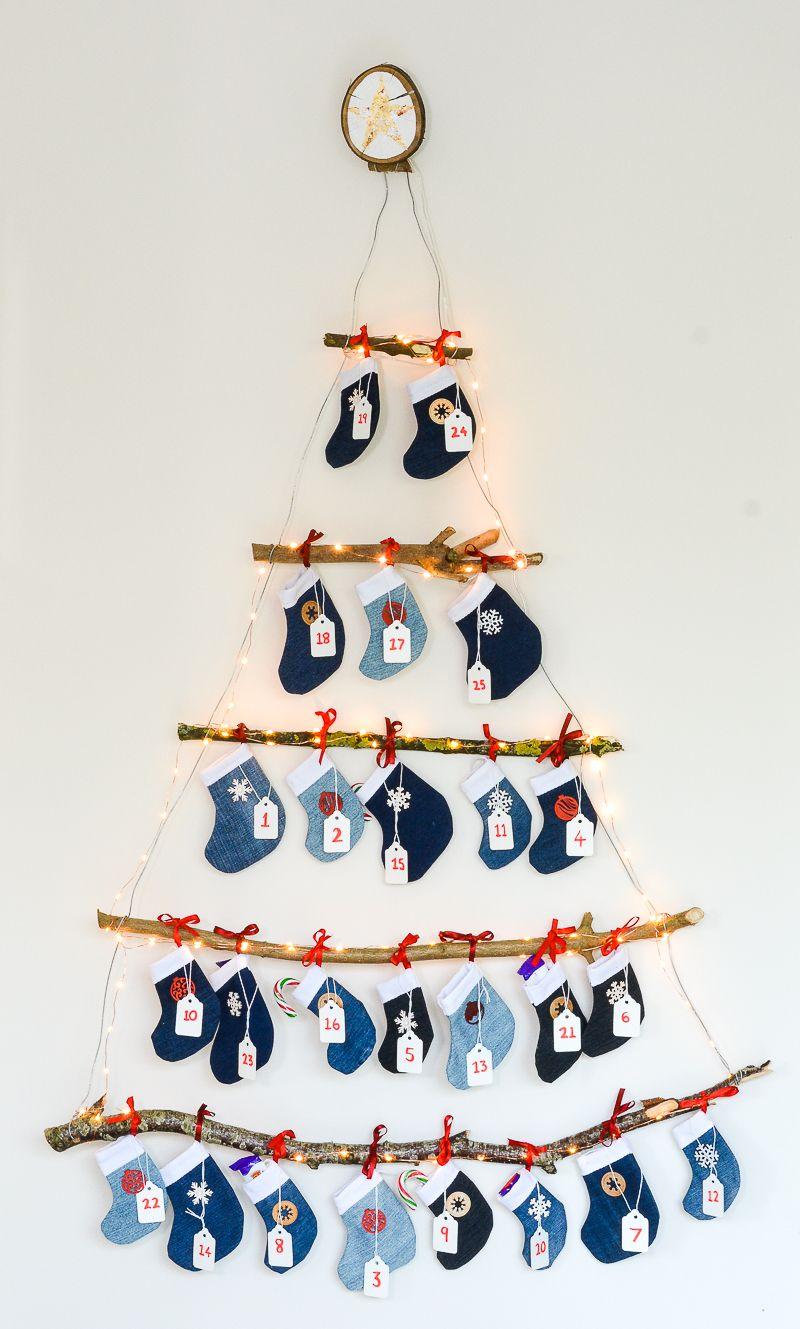 Denim Diy Mini Stocking Advent Calendar Reusable Advent Calendar