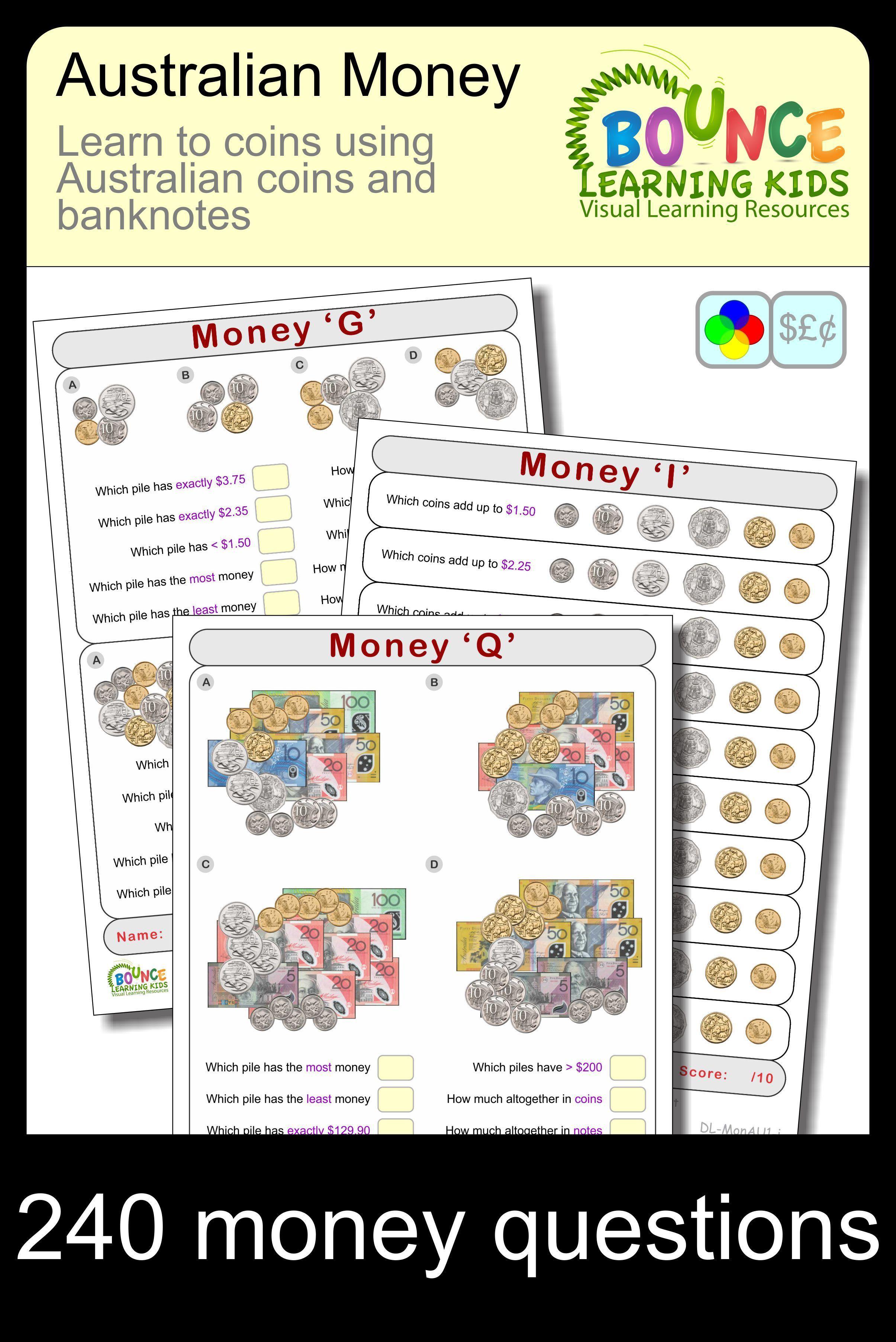Australian Money 17 Distance Learning Money Sheets