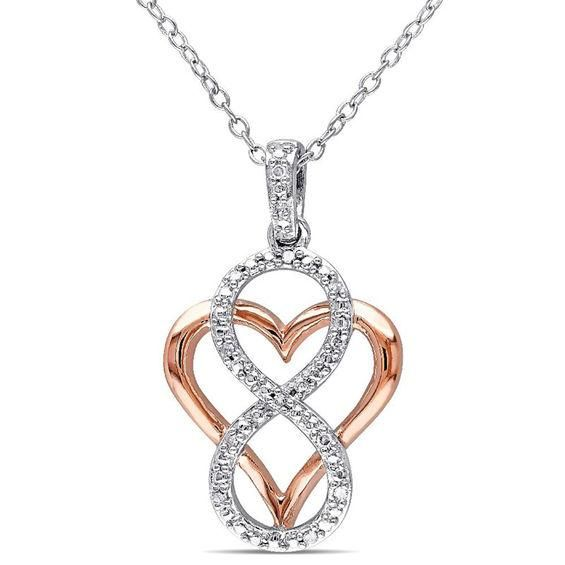 Zales Lab-Created White Sapphire and Diamond Accent Mom Heart Pendant in Sterling Silver with Rose Rhodium 0uEy71dYu