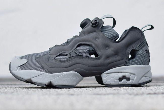 Gray + Reebok Instapump Fury reflective leather sneakers