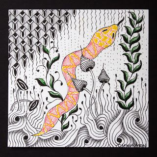 """The Quilting Tangler: Diva Challenge 106 - Year of the Snake..Tangles used: Fescu, Mssst, Scrawls, Sedgeling, Verve, Zinger, and, up in the left-hand corner, my new tangle """"Zoya""""."""