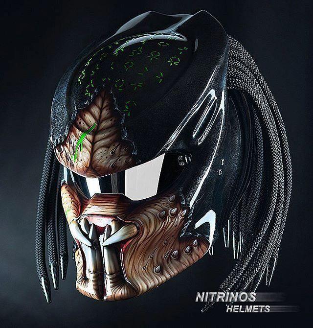 fierce predator themed motorcycle helmets with dreadlocks laughing squid predator helmet. Black Bedroom Furniture Sets. Home Design Ideas