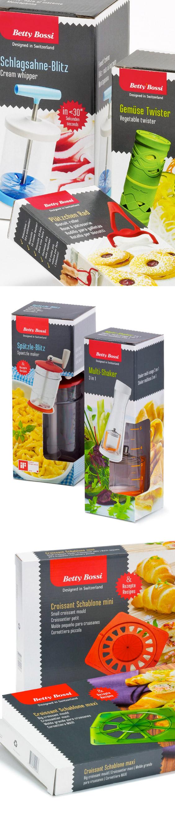 Betty Bossi – gutes Werkzeug ist fast gekocht!  Betty Bossi nimmt als Convenience-Marke in den Regalen von Coop einen grossen Stellenwert ein. Ein kleiner Schritt also, um aus dem Food- und Cookbook-Brand eine Hardware-Produktelinie zu entwickeln, Küchenhilfen, die das Kochen erleichtern und von Experten geprüft sind. Das Design kombiniert raffiniert das in der Schachtel nicht sichtbare Gerät mit dem damit zu erzielenden Produkt. / Packaging design by Schaffner & Conzelmann AG, Basel, CH