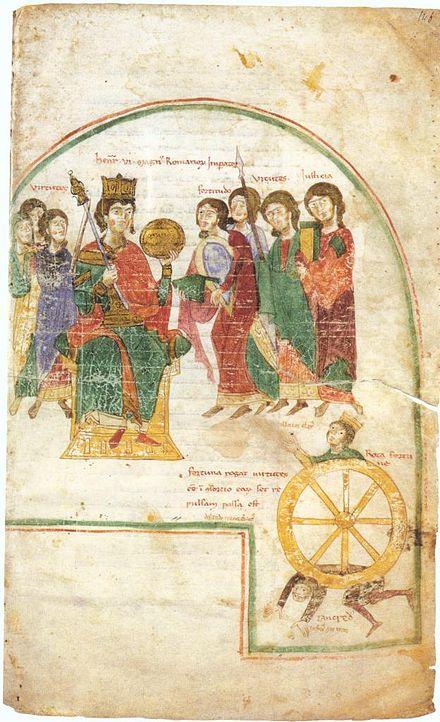 Heinrich thronend zwischen sieben Tugenden und im Triumph über Tankred, der unter dem Wagen der Fortuna liegt. Petrus von Eboli, Liber ad honorem Augusti, Bern, Burgerbibliothek, Codex 120. II, fol. 146r.
