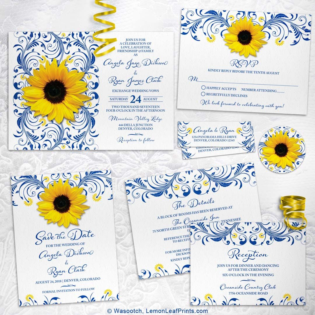 Royal Blue And Yellow Sunflower Floral Wedding Invitation Set Many