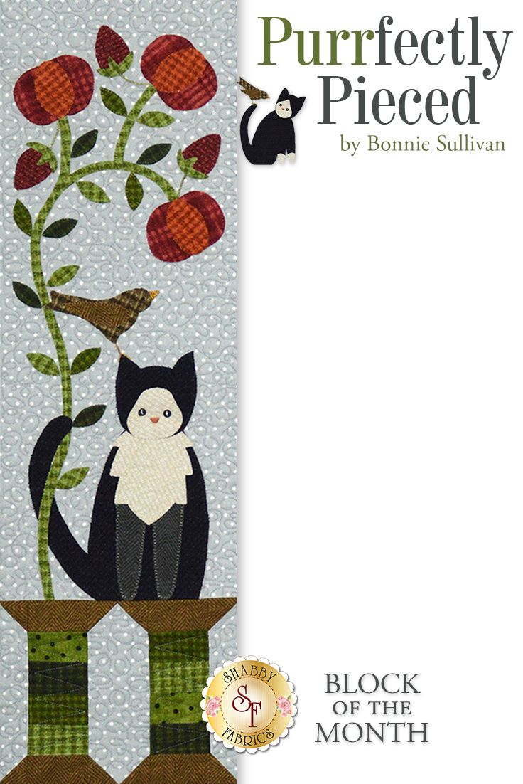 """Purrfectly Pieced BOM - Pre-fused & Laser-Cut:  Bring home a few new furry friends with this adorable 33"""" x 37"""" flannel quilt by Bonnie Sullivan.  This quilt features cats and birds playing together with flowers and sewing supplies. This project features appliqué, piecing and simple hand embroidery."""
