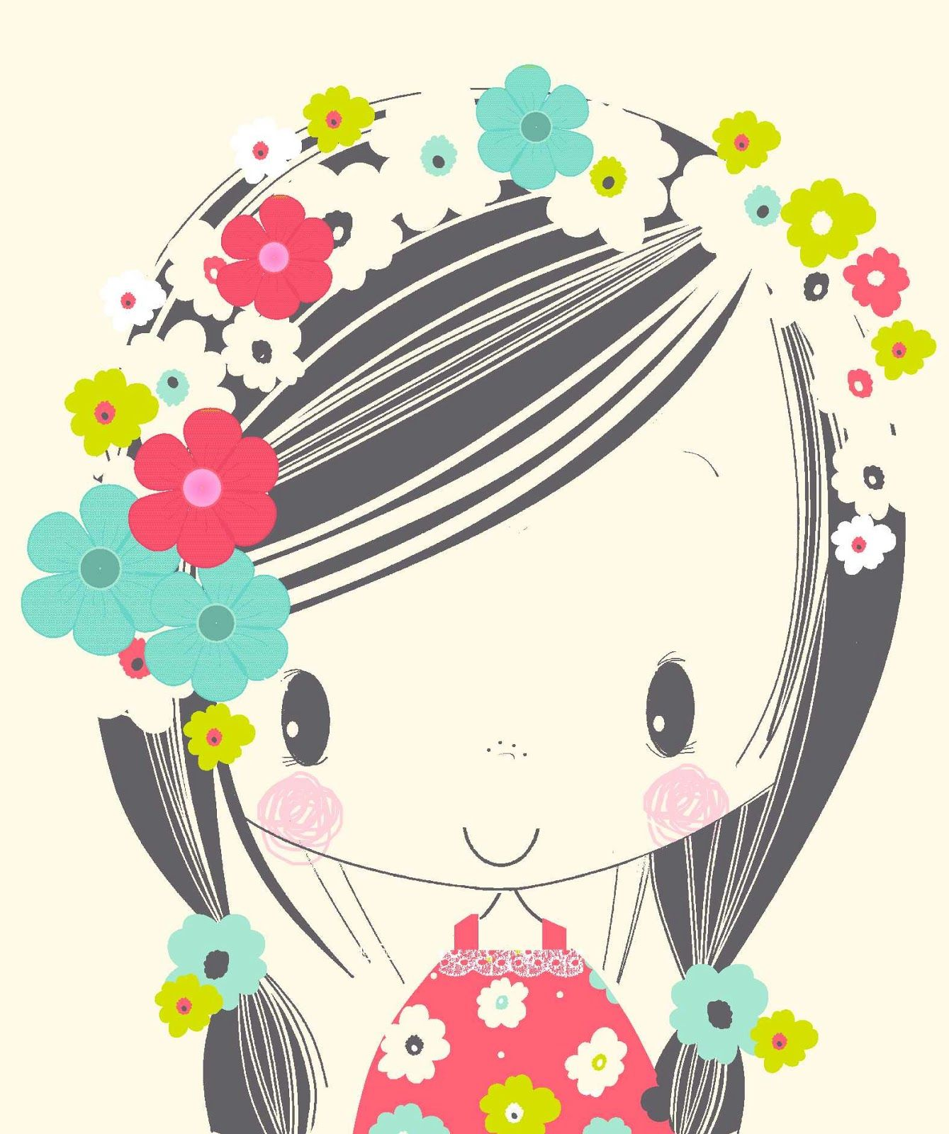 Cute Flower Girl Imagens Fofas Estampas