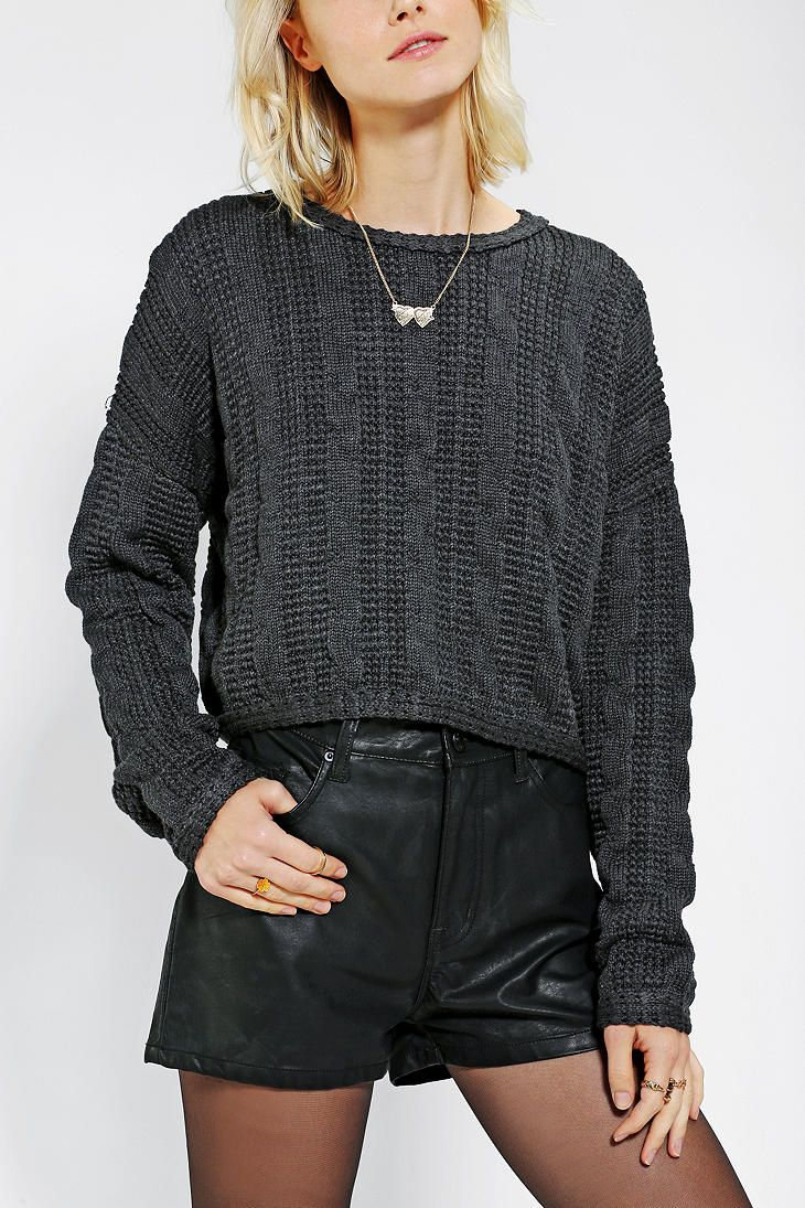 Sparkle & Fade Chunky Cable-Knit Cropped Sweater #UrbanOutfitters ...