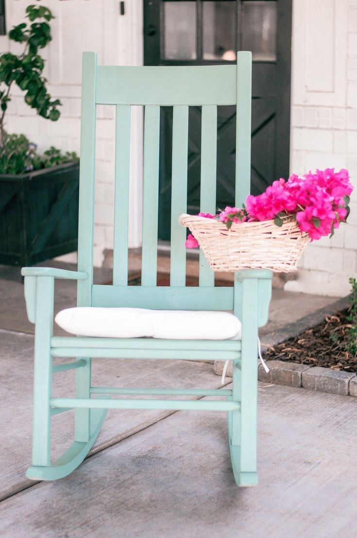 The DIY Front Porch Rocking Chair Makeover you don't want to miss! See how we took these vintage, beat up old white wooden rockers and turned them into the painted, front porch farmhouse rocking chairs of our dreams using Behr paint in Mossy Bench! Our outdoor living space decor just got a major upgrade! #outdoorlivingspace #outdoorpatioideas #diyproject #diyfurniture #outdoordecor #frontporch #rockingchairmakeover #outdoordiyfurniture