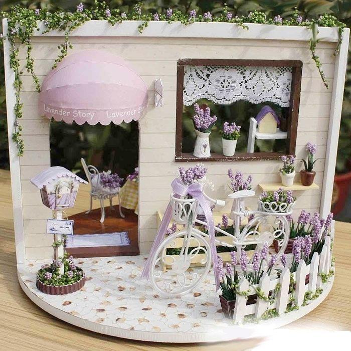DIY Wooden Sunny Garden Miniature Dollhouse 3D LED Mini Dollhouse Kit With O6O4