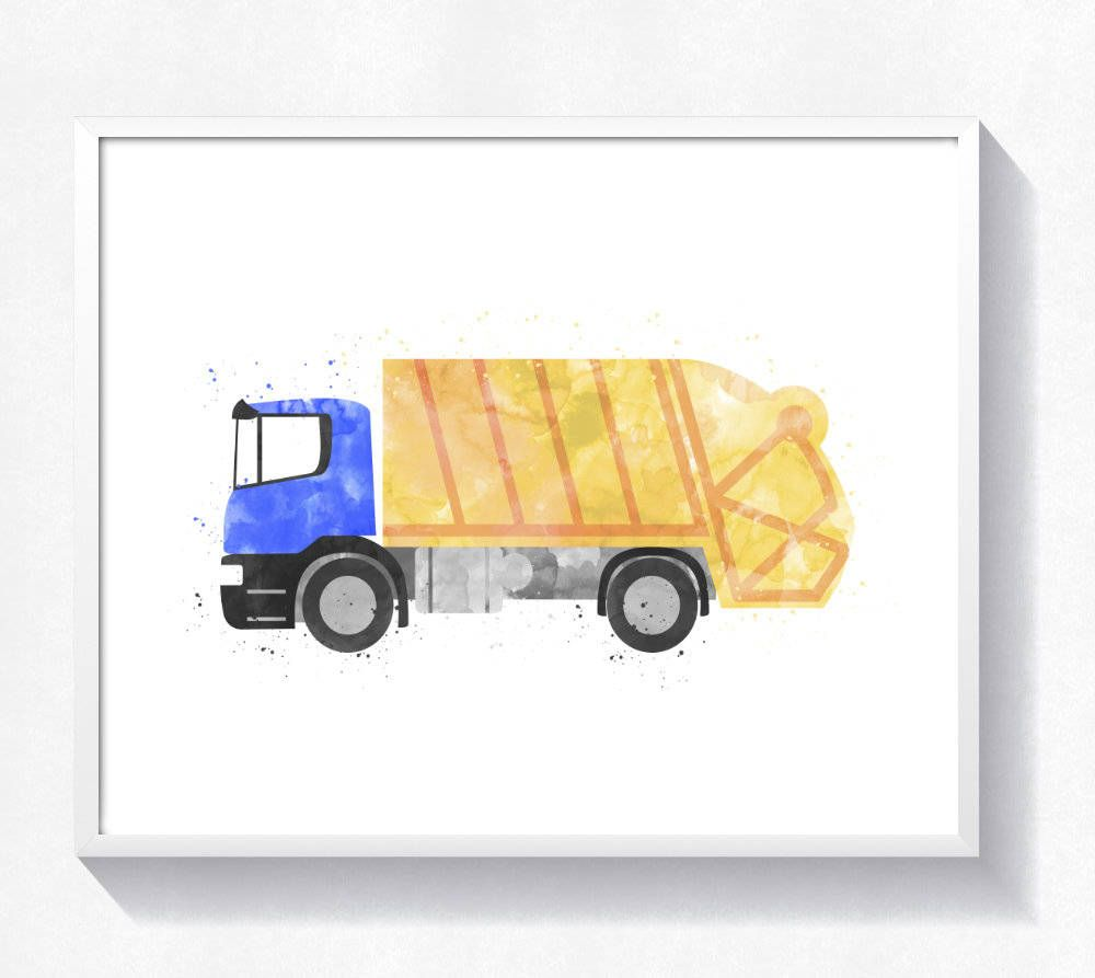 Watercolor garbage truck print, garbage truck printable, truck wall ...