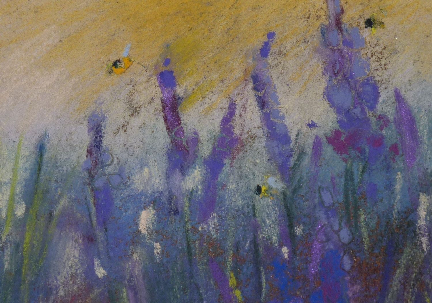 Purple Blue Wildflowers with Bumblebees por KarenMargulisFineArt