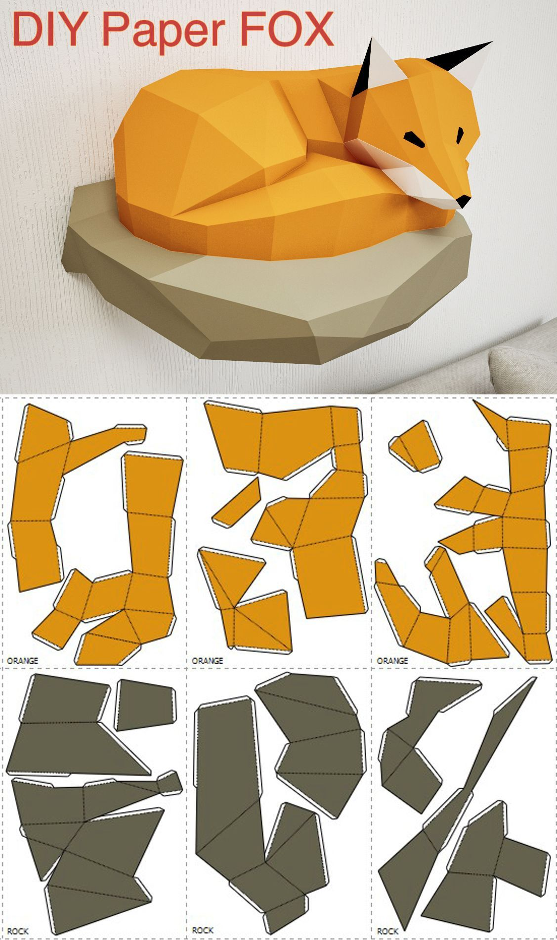 Papercraft Fox on rock, paper model, 3d paper craft, paper sculpture PDF template, low poly animals papercraft, wall home decor pepakura kit