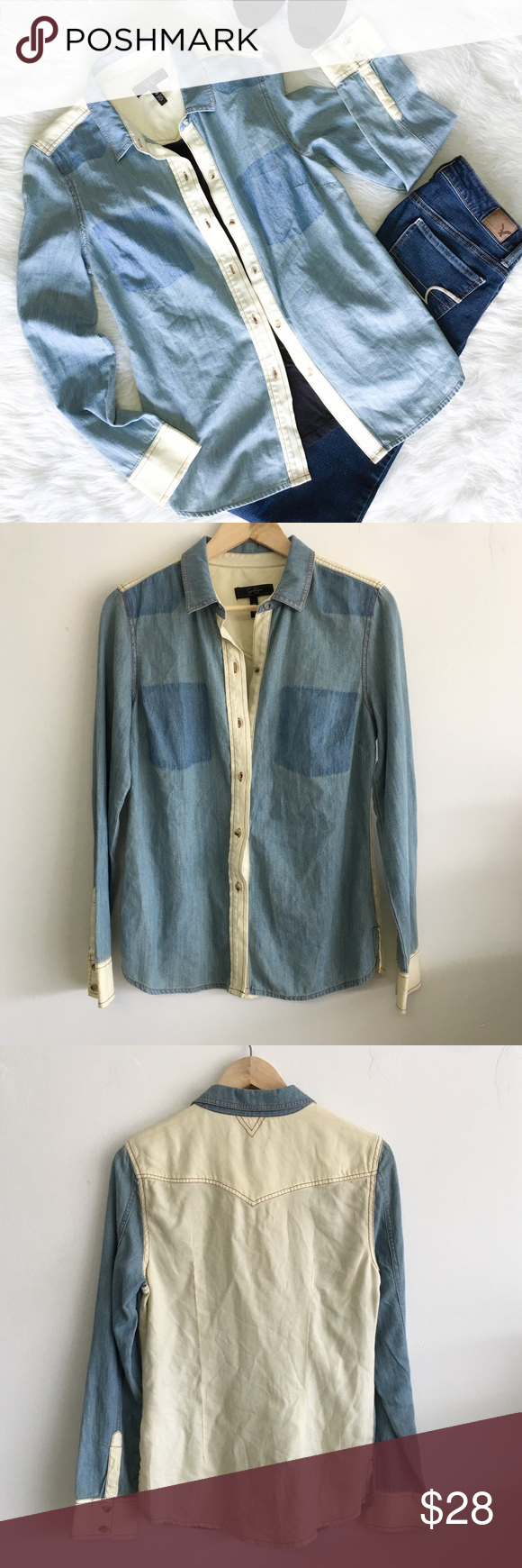 Jessica Simpson No Pocket Button Down Medium Jessica Simpson no pocket cream and denim button down. Size Large. EUC.❌ No Trades ❌ No off Poshmark transactions ❤️ Bundle and save 📬 Fast shipper ❤️ I love reasonable offers Jessica Simpson Tops Button Down Shirts
