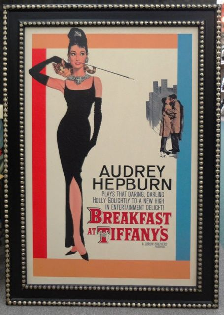 """Breakfast at Tiffany's"" movie theater framed art."