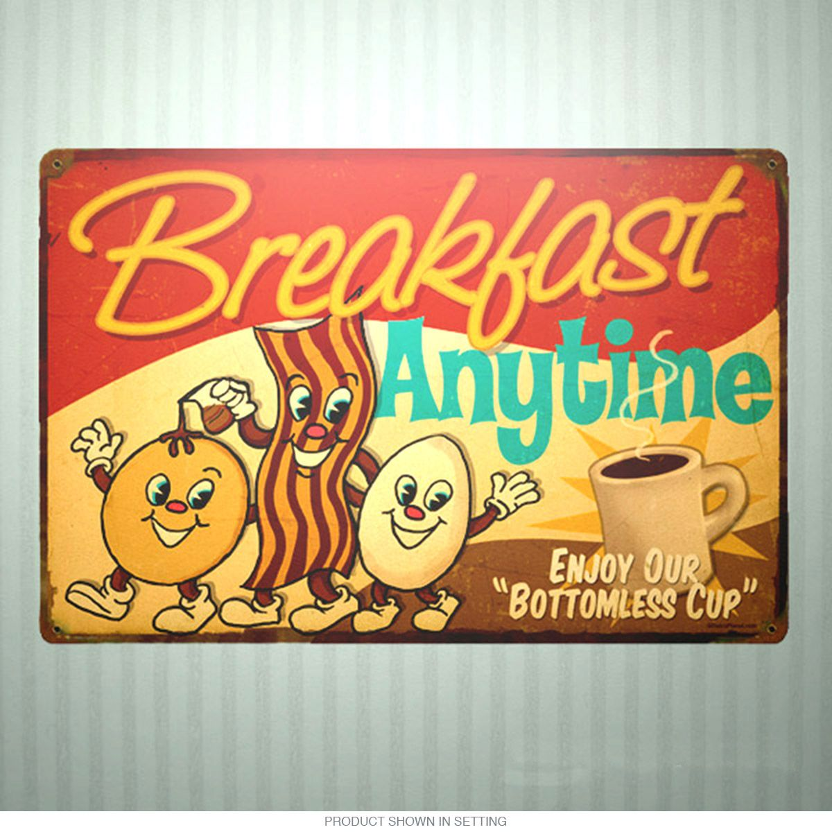 Breakfast Anytime Dancing Food Kitchen Sign 18 x 12 | Americana ...