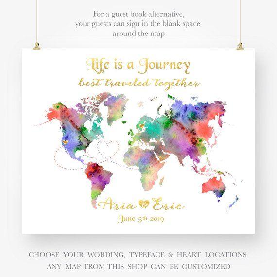 Custom World Map Wedding Guestbook Alternative Anniversary