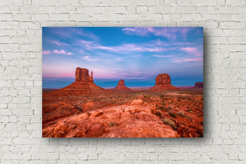 Western Photography Canvas Wall Art Of The Mittens In Monument Valley Under A Scenic Sky At Sunset Along The Arizona And Utah Border Southwestern Wall Art Western Wall Art Canvas Photography