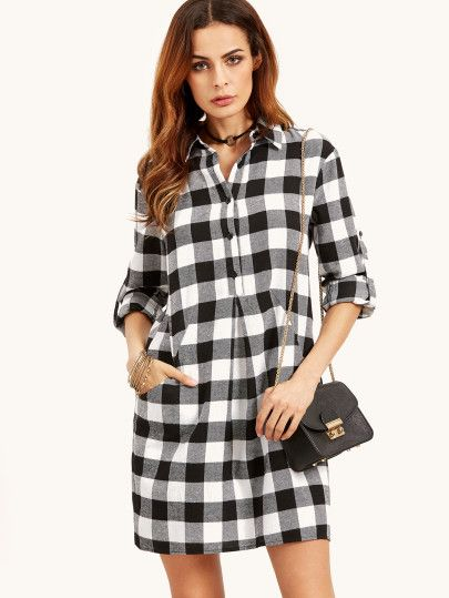80ab4b59c0 Black And White Checkered Roll Tab Sleeve Shirt Dress | dresses in ...